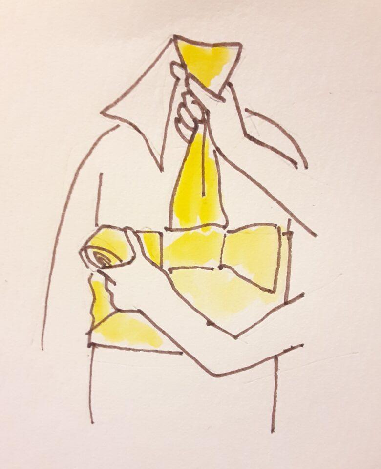 袴の着付け 半幅帯の結び方16