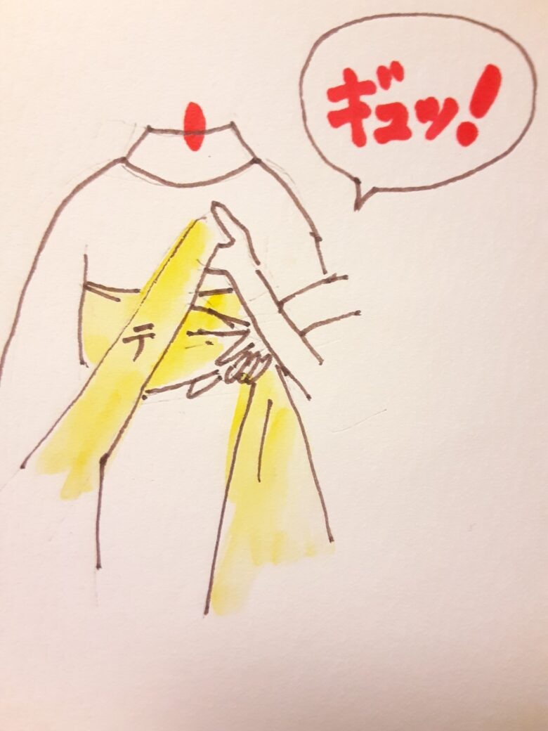 袴の着付け 半幅帯の結び方7