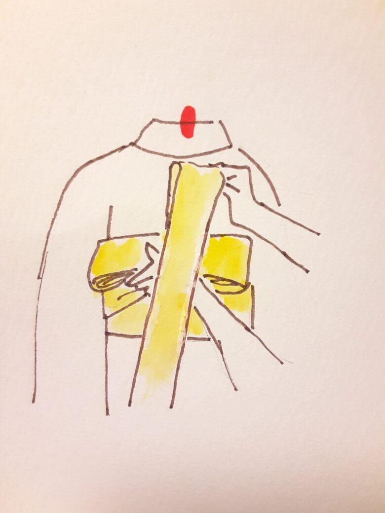 袴の着付け 半幅帯の結び方12