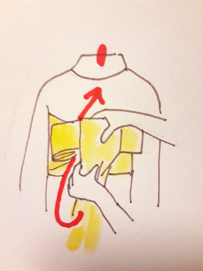 袴の着付け 半幅帯の結び方13