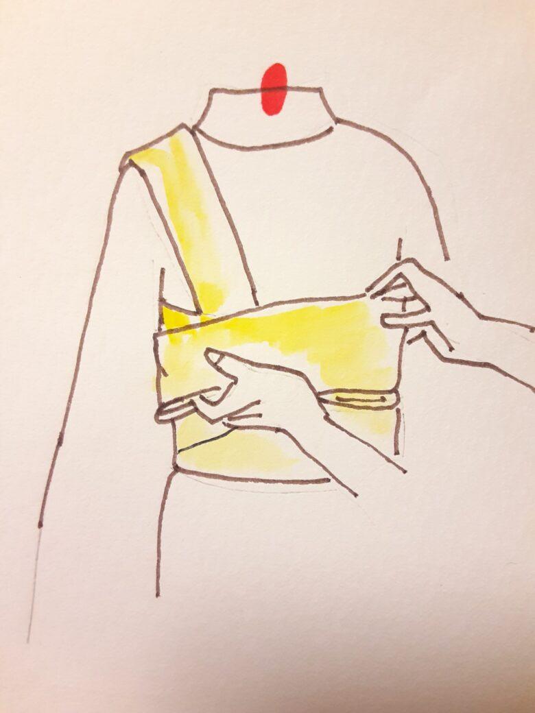 袴の着付け 半幅帯の結び方11