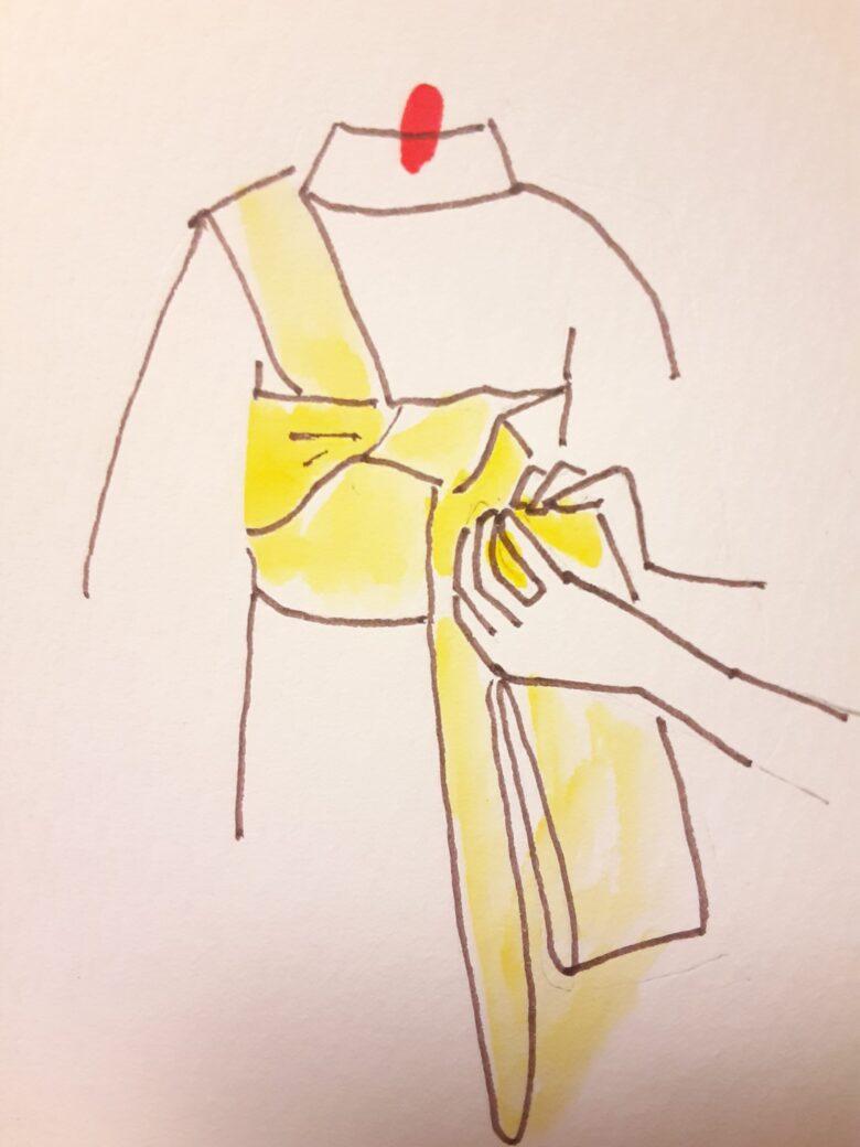 袴の着付け 半幅帯の結び方10