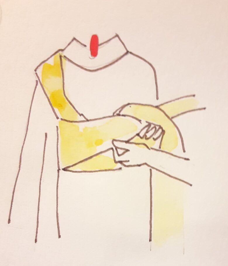 袴の着付け 半幅帯の結び方4