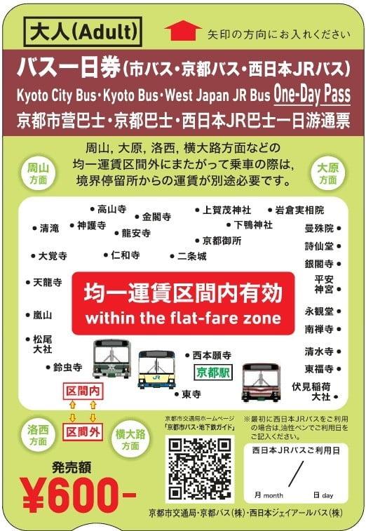 京都一日券バス大人用